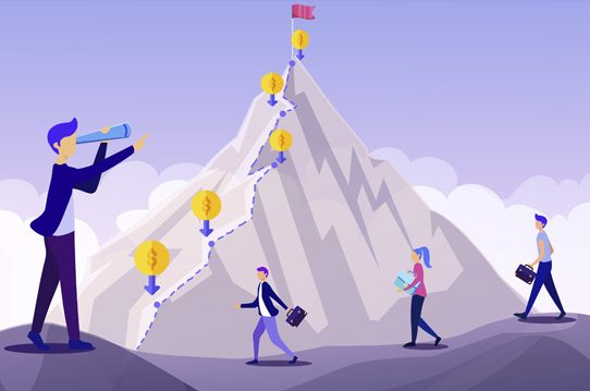 Business people approach a mountain with checkpoints and a red flag on top